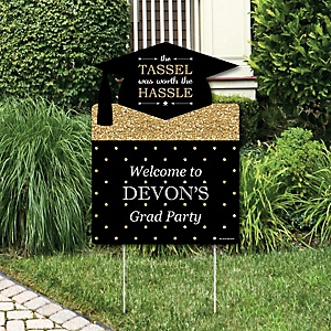 Tassel Worth The Hassle - Gold - Graduation Decorations - Graduation Party Personalized Welcome Yard Sign
