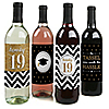 Tassel Worth The Hassle - Gold - 2019 Graduation Wine Bottle Label Stickers - Set of 4