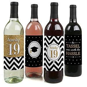 Tassel Worth The Hassle - Gold - 2019 Graduation Decorations for Women and Men - Wine Bottle Label Stickers - Set of 4