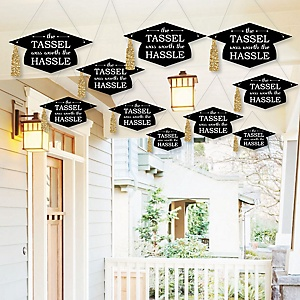 Hanging Tassel Worth The Hassle - Gold - Outdoor Graduation Party Hanging Porch & Tree Yard Decorations - 10 Pieces