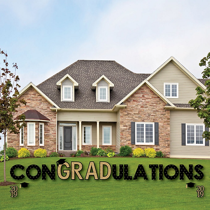 conGRADulations - Tassel Worth The Hassle - Gold - Yard Sign Outdoor Lawn Decorations - 2019 Graduation Party Yard Signs