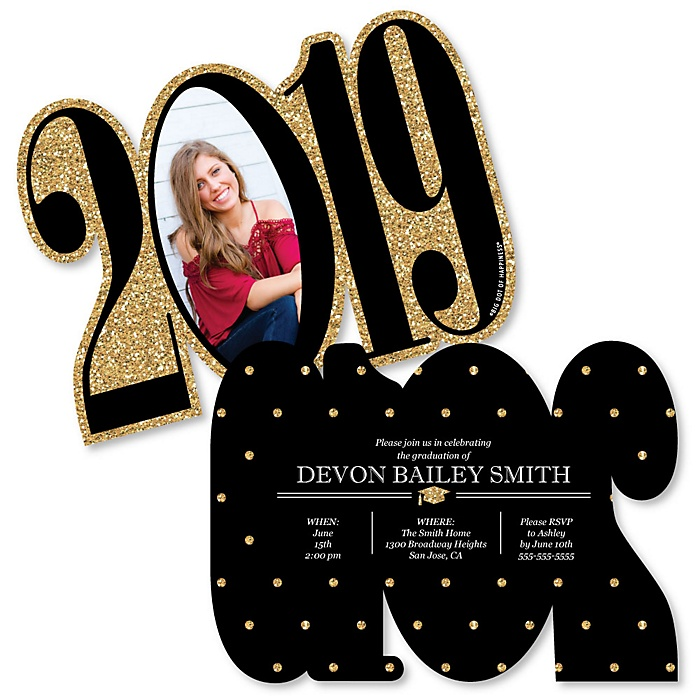 Tassel Worth The Hassle - Gold - Personalized 2019 Photo Graduation Announcement - Set of 12