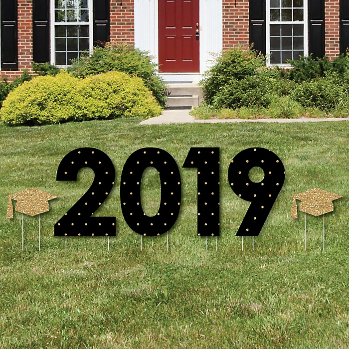 2019 - Tassel Worth The Hassle - Gold - Yard Sign Outdoor Lawn Decorations - Graduation Party Yard Signs