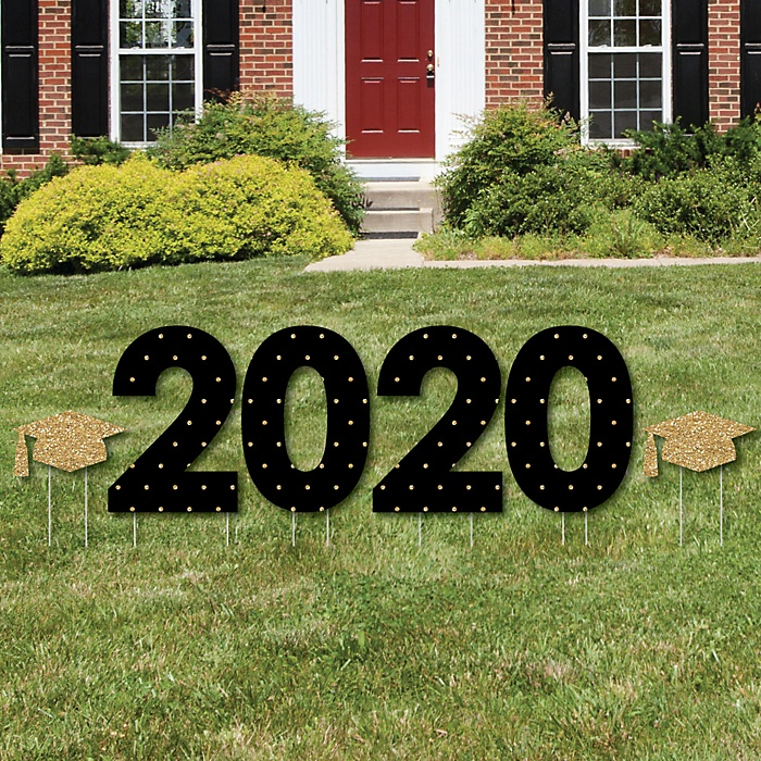 2020 - Tassel Worth The Hassle - Gold - Yard Sign Outdoor Lawn Decorations - Graduation Party Yard Signs