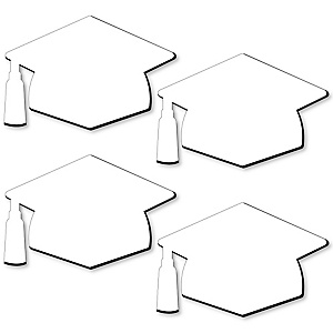 Grad Cap Foam Board - Shaped DIY Craft Supplies for Resin and Painting - Graduation Party Blank Foam Board - 4 Piece