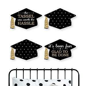 Tassel Worth The Hassle - Gold - Graduation, Home and Bedroom Decorations - Shaped Wall Art - 4 Piece