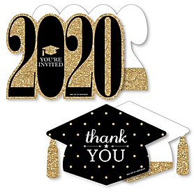 Tassel Worth The Hassle - Gold - 20 Shaped Fill-In Invitations and 20 Shaped Thank You Cards Kit - 2020 Graduation Party Stationery Kit - 40 Pack