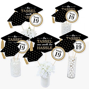 Tassel Worth The Hassle - Gold - 2019 Graduation Party Centerpiece Sticks - Table Toppers - Set of 15