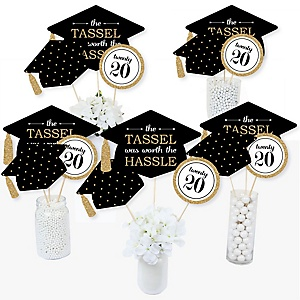 Tassel Worth The Hassle - Gold - 2020 Graduation Party Centerpiece Sticks - Table Toppers - Set of 15