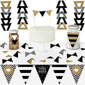 Tassel Worth The Hassle - Gold - DIY Pennant Banner Decorations - Graduation Party Triangle Kit - 99 Pieces