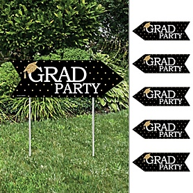 Tassel Worth The Hassle - Gold - Arrow Graduation Party Direction Signs - Double Sided Outdoor Yard Signs - Set of 6