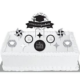 Tassel Worth The Hassle - Silver - 2020 Graduation Party Cake Decorating Kit - Congrats Graduate Cake Topper Set - 11 Pieces