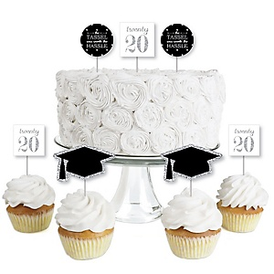 Tassel Worth the Hassle - Silver - Dessert Cupcake Toppers - 2020 Graduation Party Clear Treat Picks - Set of 24