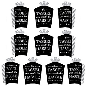 Tassel Worth The Hassle - Silver - Table Decorations - Graduation Party Fold and Flare Centerpieces - 10 Count