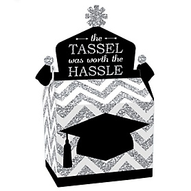 Tassel Worth The Hassle - Silver - Treat Box Party Favors - Graduation Party Goodie Gable Boxes - Set of 12