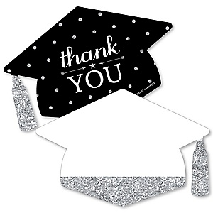 Tassel Worth The Hassle - Silver - Shaped Thank You Cards - Graduation Party Thank You Note Cards with Envelopes - Set of 12