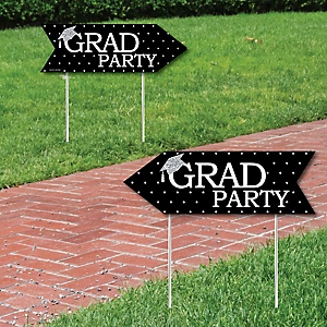 Tassel Worth The Hassle - Silver - Graduation Party Sign Arrow - Double Sided Directional Yard Signs - Set of 2