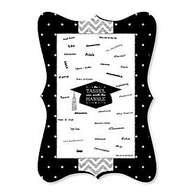 Tassel Worth The Hassle - Silver - Unique Alternative Guest Book - Graduation Party Signature Mat