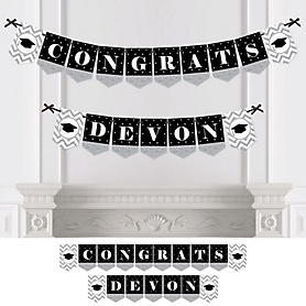 Tassel Worth The Hassle - Silver - Personalized Graduation Party Bunting Banner & Decorations