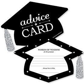 Tassel Worth the Hassle - Silver - Grad Cap Wish Card Graduation Party Activities - Shaped Advice Cards Games - Set of 20