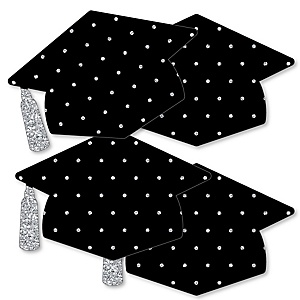 Tassel Worth The Hassle - Silver - Grad Cap Decorations DIY Graduation Party Essentials - Set of 20