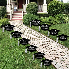 Tassel Worth The Hassle - Silver - Grad Cap Shaped Outdoor Graduation Lawn Decorations - Graduation Party Yard Signs - 10 Piece