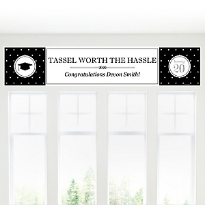 Tassel Worth The Hassle - Silver - Personalized 2020 Graduation Banner