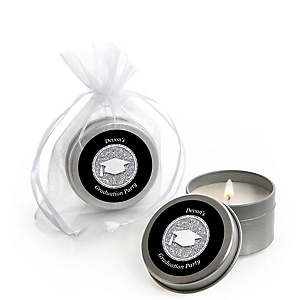 Tassel Worth The Hassle - Silver - Personalized Graduation Candle Tin Favors - Set of 12