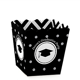 Tassel Worth The Hassle - Silver - Party Mini Favor Boxes - Personalized Graduation Treat Candy Boxes - Set of 12