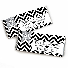 Tassel Worth The Hassle - Silver -  Candy Bar Wrappers 2020 Graduation Party Favors - Set of 24