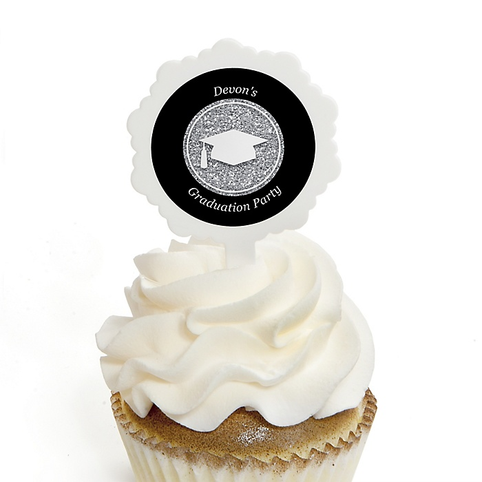 Tassel Worth The Hassle - Silver - Personalized Graduation Cupcake Pick and Sticker Kit - 12 ct