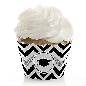 Tassel Worth The Hassle - Silver - Graduation Decorations - Party Cupcake Wrappers - Set of 12