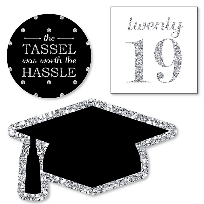 Tassel Worth The Hassle - Silver - DIY Shaped 2019 Graduation Party Paper Cut-Outs - 24 ct