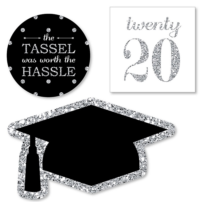 Tassel Worth The Hassle - Silver - DIY Shaped 2020 Graduation Party Paper Cut-Outs - 24 ct