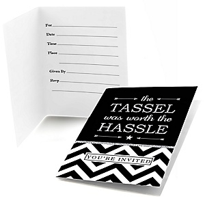 Tassel Worth The Hassle - Silver - Graduation Party Fill In Invitations - 8 ct