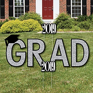 GRAD - Tassel Worth The Hassle - Silver - Yard Sign Outdoor Lawn Decorations - 2019 Graduation Party Yard Signs