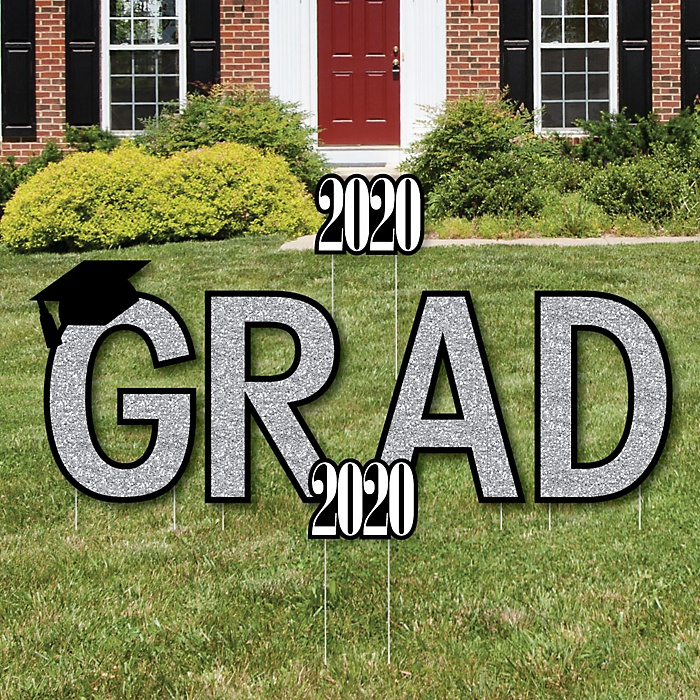 GRAD - Tassel Worth The Hassle - Silver - Yard Sign Outdoor Lawn Decorations - 2020 Graduation Party Yard Signs