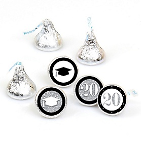 Tassel Worth The Hassle - Silver - Round Candy Labels 2020 Graduation Party Favors - Fits Hershey's Kisses 108 ct