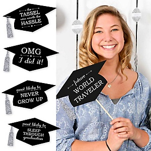 Hilarious Graduation Caps - Silver - Graduation Photo Booth Prop Kit - 20 Count