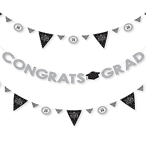 Tassel Worth The Hassle - Silver - 2019 Graduation Party Letter Banner Decoration - 36 Banner Cutouts and Congrats Grad Banner Letters