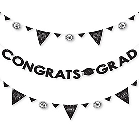 Tassel Worth The Hassle - Silver - 2020 Graduation Party Letter Banner Decoration - 36 Banner Cutouts and Congrats Grad Banner Letters