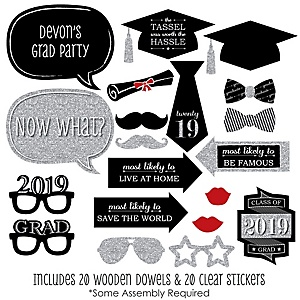 Graduation Party - Silver - 20 Piece Photo Booth Props Kit