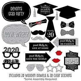 Graduation Party - Silver - 20 Piece 2020 Graduation Party Photo Booth Props Kit