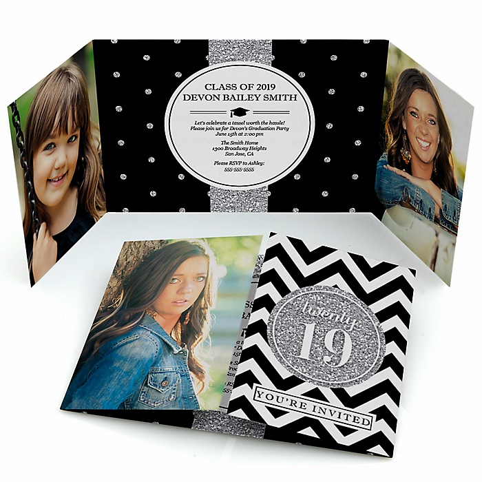 Tassel Worth The Hassle - Silver - Personalized Photo 2019 Graduation Invitations - Set of 12