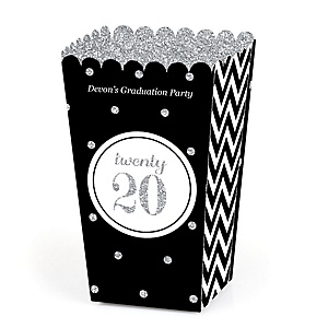 Tassel Worth The Hassle - Silver - Personalized 2020 Graduation Popcorn Favor Treat Boxes - Set of 12