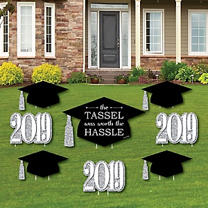Tassel Worth The Hassle - Silver - Yard Sign & Outdoor Lawn Decorations - 2019 Graduation Party Yard Signs - Set of 8