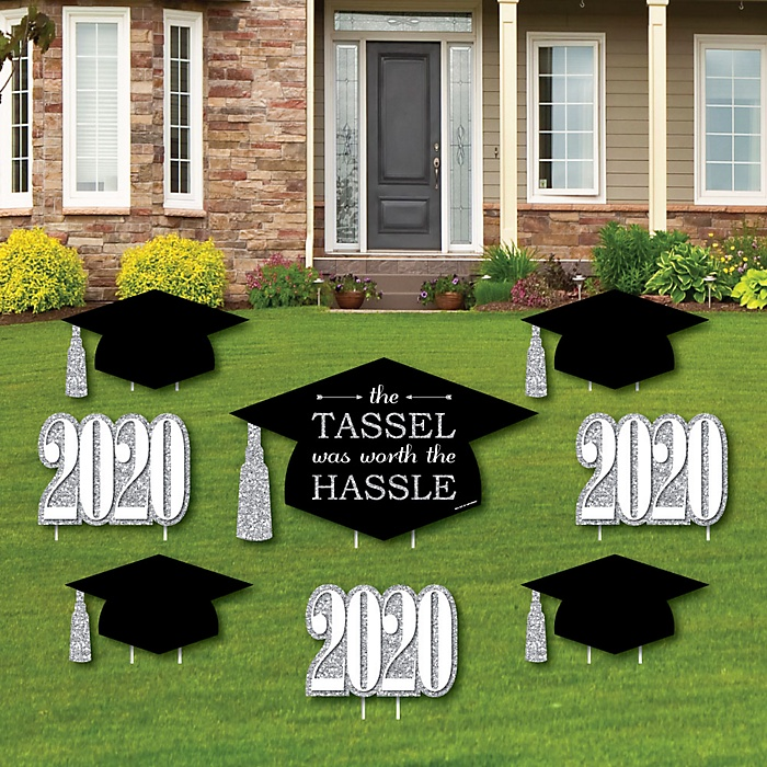 Tassel Worth The Hassle - Silver - Yard Sign & Outdoor Lawn Decorations - 2020 Graduation Party Yard Signs - Set of 8