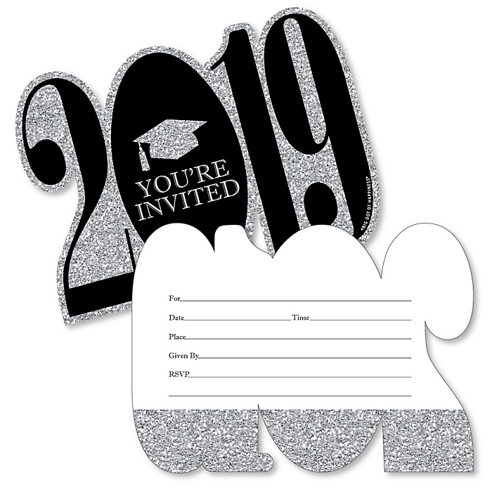 Tassel Worth The Hassle - Silver - 2019 Shaped Fill-In Invitations - Graduation Party Invitation Cards with Envelopes - Set of 12