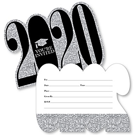 Tassel Worth The Hassle - Silver - 2020 Shaped Fill-In Invitations - Graduation Party Invitation Cards with Envelopes - Set of 12
