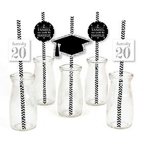 Tassel Worth The Hassle - Silver - Paper Straw Decor - 2020 Graduation Party Striped Decorative Straws - Set of 24